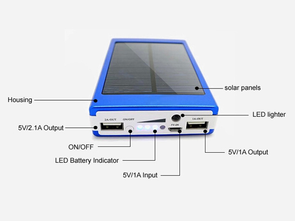 Custom high capacity solar power bank 12000mah