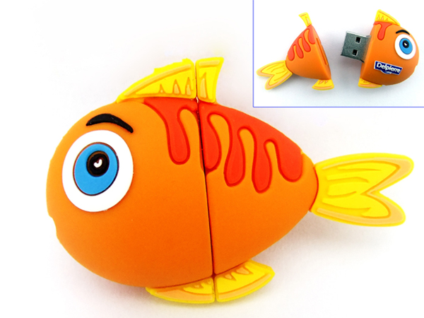 custom fish shaped cartoon usb flash disk