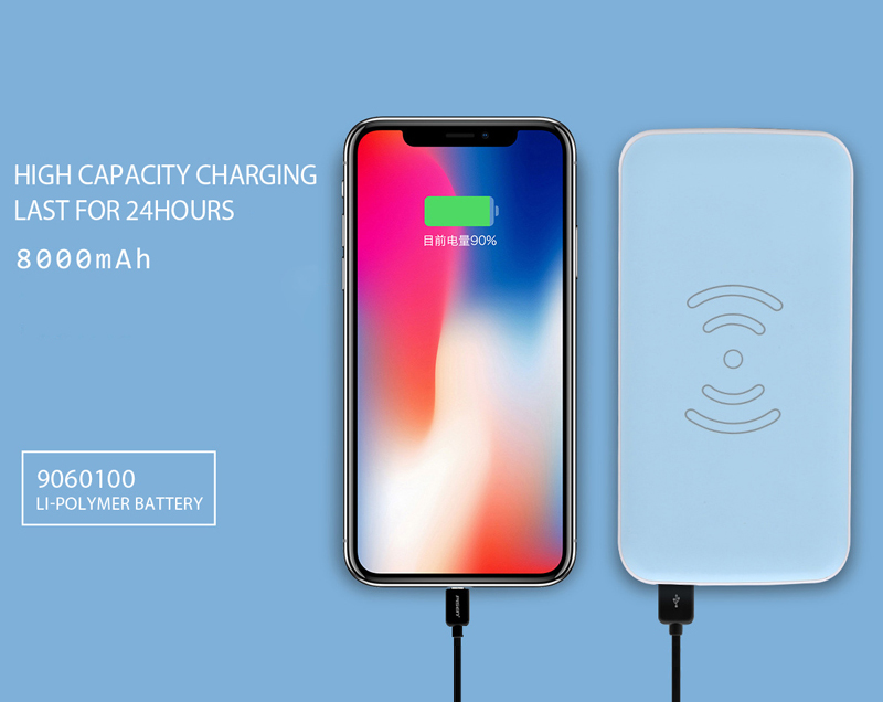 2018 New Ultra Slim 8000mAh Charging Qi Wireless power bank